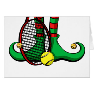 Tennis Christmas Elf Feet Greeting Card