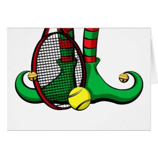 Tennis Christmas Elf Feet Greeting Card