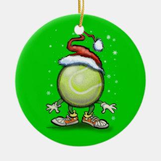 Tennis Christmas Round Ceramic Decoration