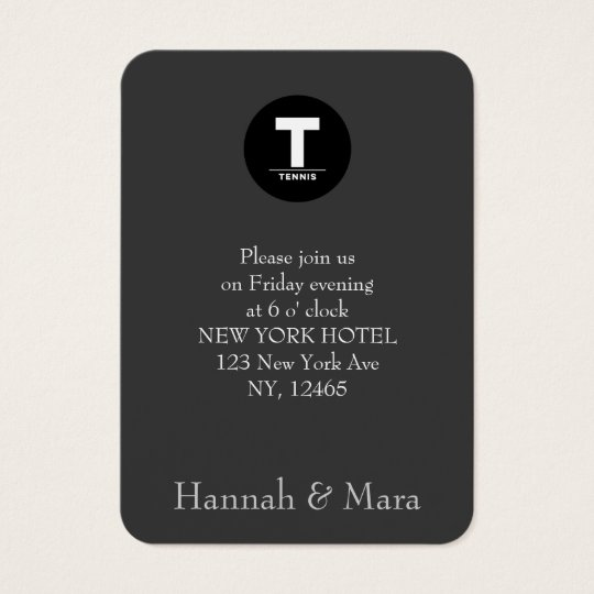TENNIS CLASSIC Special Dinner/Information Business Card