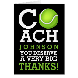 Tennis Coach Personalized Name Thank You Card