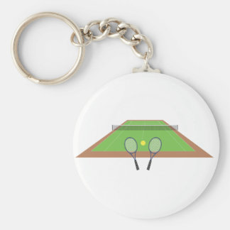 Tennis Court and Racket Key Chain
