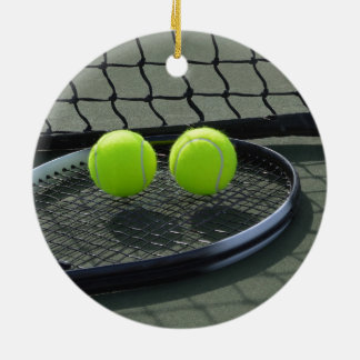 Tennis Court Racquet & Tennis Balls Christmas Ornament