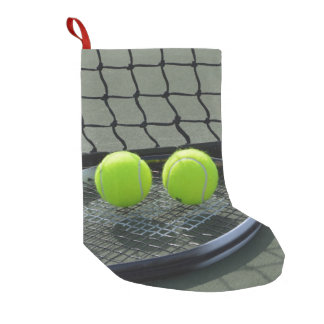 Tennis Court Racquet & Tennis Balls Small Christmas Stocking
