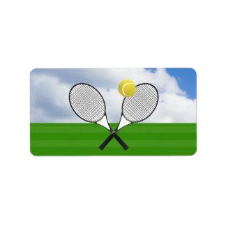 Tennis court & TENNIS RACKETS Address Label