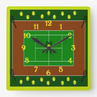 Tennis Court & Tennis Racquets Square Wall Clock
