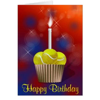 tennis cupcake happy Birthday Greeting Card