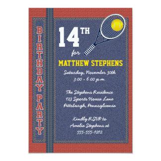 Tennis Denim Bricks Rustic Sports Birthday Party 13 Cm X 18 Cm Invitation Card