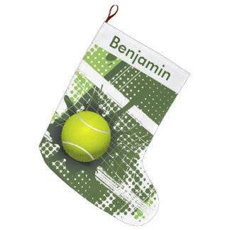 Tennis Design Large Christmas Stocking