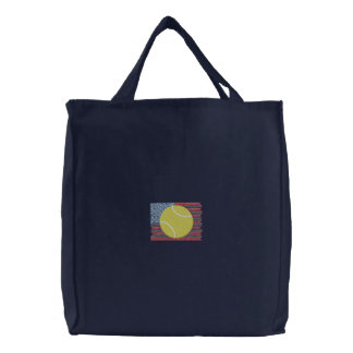 Tennis Embroidered Tote Bag