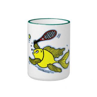 Tennis Fish, Fish Playing Tennis Ringer Mug