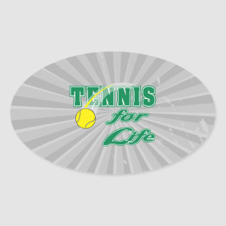 tennis for life text design oval sticker