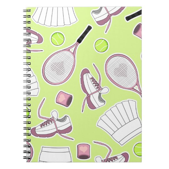 Tennis Girl Pattern Green Background Notebook