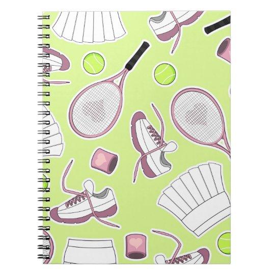 Tennis Girl Pattern Green Background Spiral Notebook