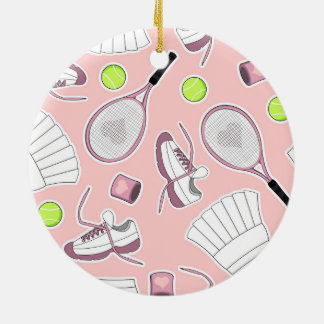 Tennis Girl Pattern Pink Background Christmas Ornament
