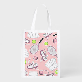 Tennis Girl Pattern Pink Background Reusable Grocery Bag