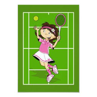 Tennis Girl RSVP Card 9 Cm X 13 Cm Invitation Card