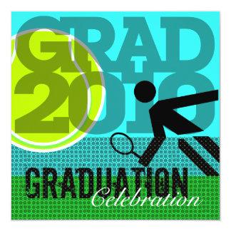 """Tennis Graduation Party 1 Invitation 5.25"""" Square Invitation Card"""