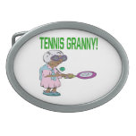 Tennis Granny.png Oval Belt Buckles