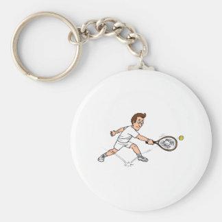 Tennis guy Missing Basic Round Button Key Ring
