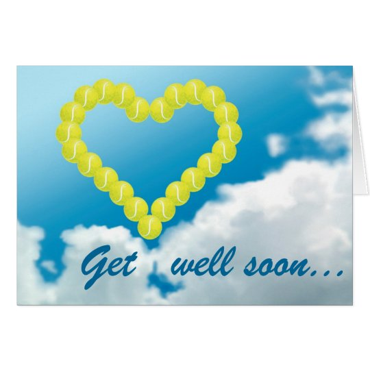 Tennis heart get well soon personalised card