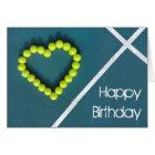 Tennis heart happy Birthday personalised Card