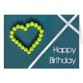 Tennis heart happy Birthday personalised Card