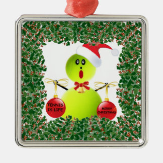 Tennis Holiday Silver-Colored Square Decoration