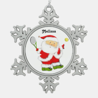 tennis holidays snowflake pewter christmas ornament