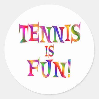 Tennis is Fun Round Stickers