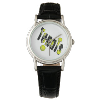 Tennis Logo And Balls, Ladies Black Leather Watch