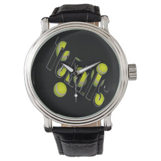 Tennis Logo And Balls, Mens Leather Watch
