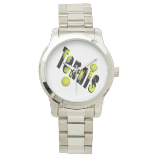 Tennis Logo And Balls, Unisex Large Silver Watch