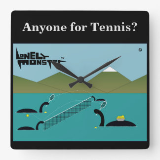 Tennis Lonely Monster Square Wall Clock