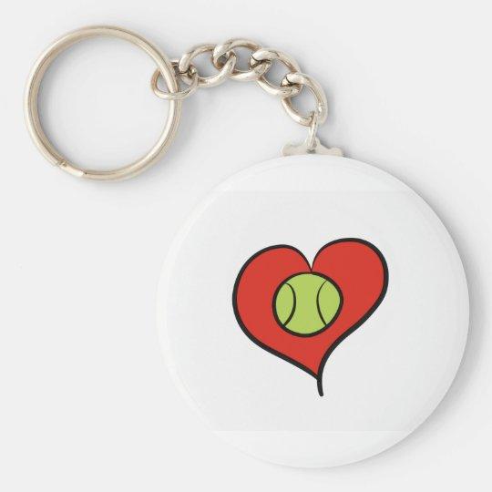 Tennis love basic round button key ring