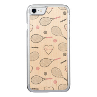 Tennis Love Pattern Carved iPhone 7 Case