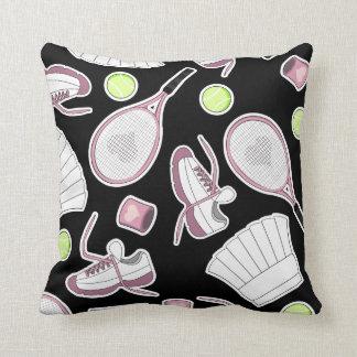 Tennis Love Pattern Pink and Black Cushion