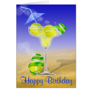 tennis margarita happy Birthday personalized Greeting Card