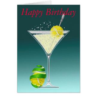 Tennis Martini Happy Birthday Card