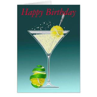 tennis martini Happy Birthday personalized Greeting Card