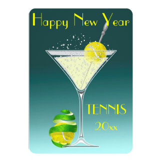 Tennis Martini New Year party Card