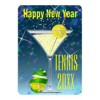 Tennis Martini New Year's party Card