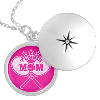 Tennis Mom Silver Plated Necklace