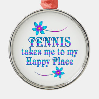 Tennis My Happy Place Christmas Ornament