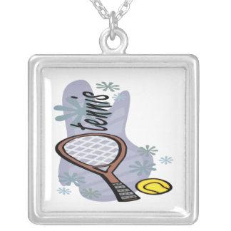 Tennis Square Pendant Necklace