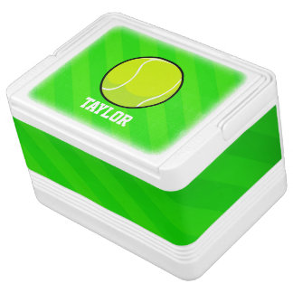 Tennis; Neon Green Stripes Igloo Cooler