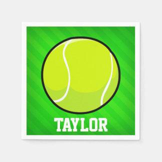 Tennis; Neon Green Stripes Paper Serviettes