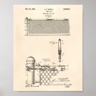 Tennis Net 1934 Patent Art Old Peper Poster