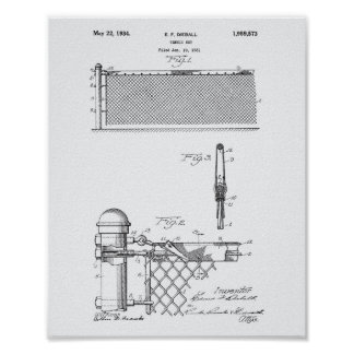 Tennis Net 1934 Patent Art White Paper Poster