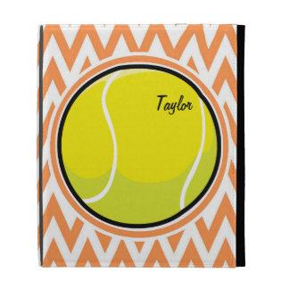 Tennis Orange and White Chevron iPad Folio Cases